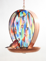 Artist Julie Kelly's Garden Party Bird Feeder in Pink/Blue-Multi Color